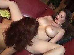 Busty and tempting whore is licking her babes pussy