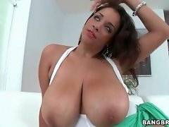 Naughty brunette likes to show her big tits