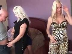 Three naughty mature sluts are going to pleasure two men.