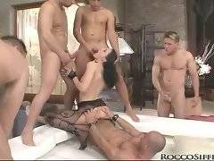Slut gets all her hospitable holes pocked by eager dudes.