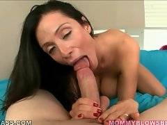 Good looking breasted mamma gives younger lover hot blowjob.