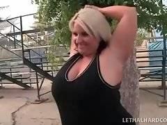 Fat blonde is dreaming about her bastard