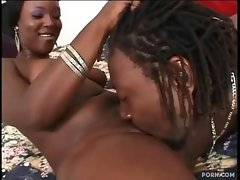 Tough black dude eagerly sucks babe`s ebony pussy.