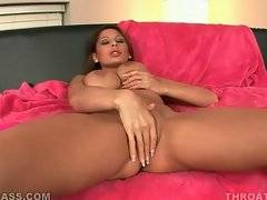 Nasty brunette is masturbating her pussy