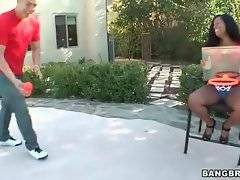 Dude introduses sex ebony babe to his friend.