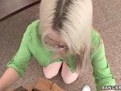 Ranie Mae kneels down to get ready for blowjob.