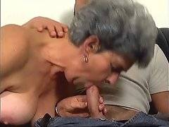 Horny gray haired lady seduces tough young fallow.