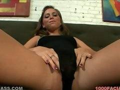 Slutty bitch is playing with her fresh kitty