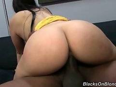 Naughty chick is jumping on thick black bone.