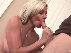 Sluty realtor gives blowjob to her cute young client.
