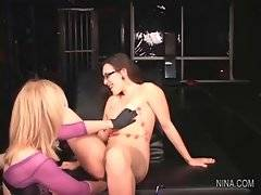In this porn video you can see adorable Nina Hartley