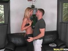 Sexy blonde milf is attracted to tough younger guy.