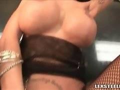 Sluty hottie with huge tits adores massive black dicks.