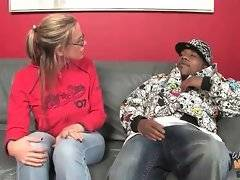 Blonde milf makes a deal with black brotha.