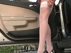 Lovely doll is showing her appetizing ass
