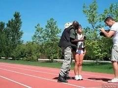 Brave slut is playing with her ebony bastard