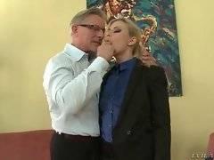 Pleasing cutie is preparing her pussy for sex