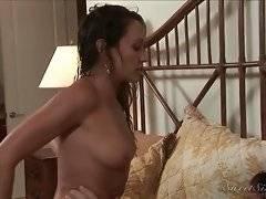 Ravishing and naked slut is riding on big phallus