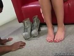 Three black brothas are fond of white girl`s feet.