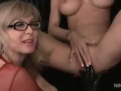 Appealing Nina Hartley with glasses is here to have fun