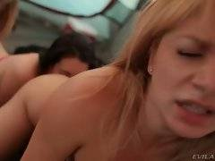 Two blonde lesbians attack their girlfriend`s ass.