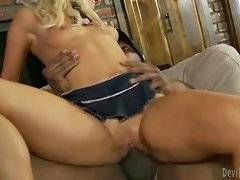 Alluring and dirty blonde likes doggy style pose