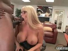Black dude fucks white babe and feeds her with his cum.