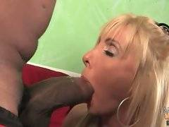 Cute and lovely Misty Vonage is doing deep blowjob