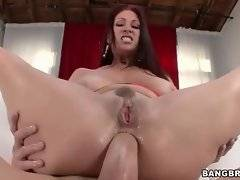 Dude with huge pecker is drilling her round ass