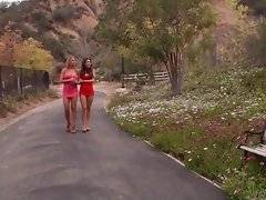 Lovely lesbians are having amazing sex fun outdoors