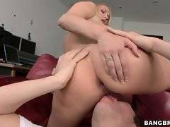 Cock hungry breasted babe enjoys deep anal.