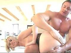 Dude assdrills hot nasty babe and makes her scream from pain and pleasure.