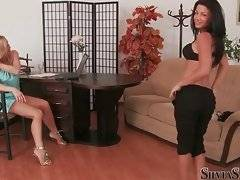 Two hot babes enjoyed talking to each other.