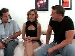 Sweet blonde mom doesn`t mind to try two dicks.