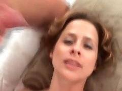 Naughty mom is fucked and jizzed by two dudes.