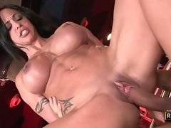 Milf fucks with her employee right on bar she owns.