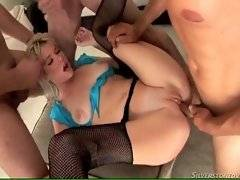 In this porn video you can see deep gang bang