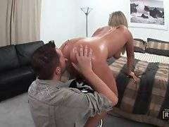 In this porn video you can see how buddy is licking round ass