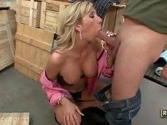 Alluring blonde is masterfully licking his big testicles