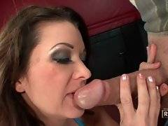 Alluring whore is sucking his big phallus
