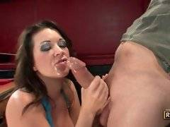 Amateur and slutty bitch is sucking his big cock