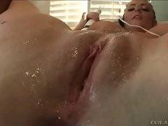 Naughty and horny babe is masturbating her pussy