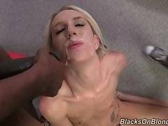 Sluty blonde opens her mouth and catches black men`s cum.