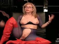 Innocent and hot Nina Hartley is dreaming about young chick