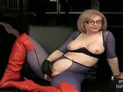 In this porn video you can see sexy and dirty Nina Hartley