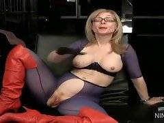 In this porn video you can see slutty and sexy Nina Hartley