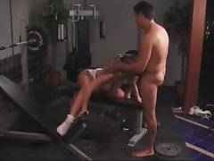Nina gets her mouth and pussy pocked in gym.
