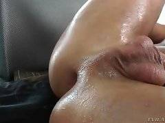 Chanel licks off fresh cum from Rocco`s stomach.