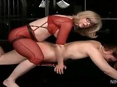 Nasty blonde lady Nina Hartley loves to fuck other woman.