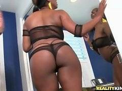 Watch cute ebony babe with big tits and yammy booty.